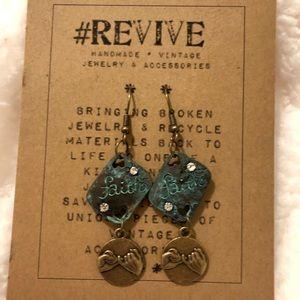 One of a kind handmade rustic dangling earrings